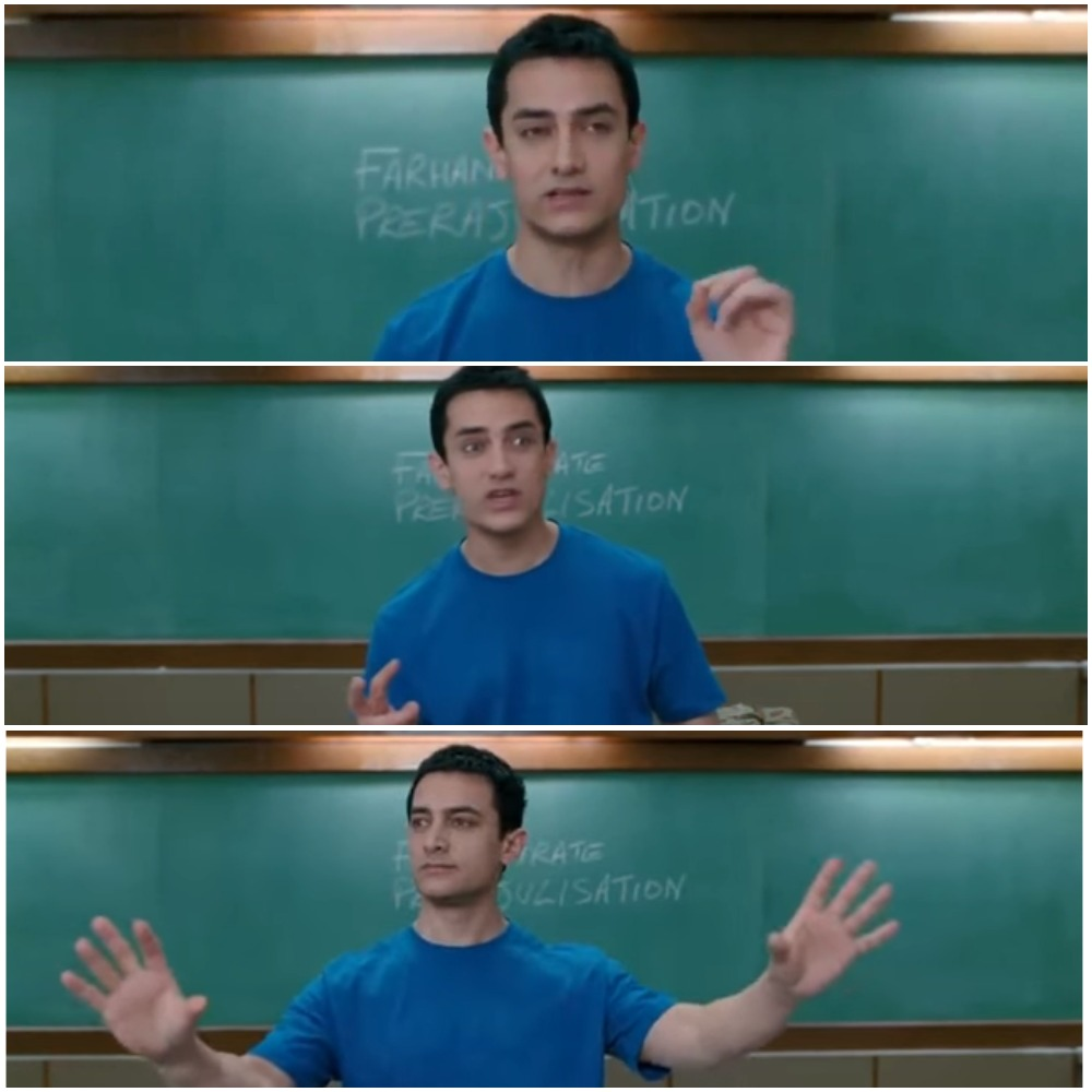 Aamir khan as Rancho explaining in 3 idiots blank meme template