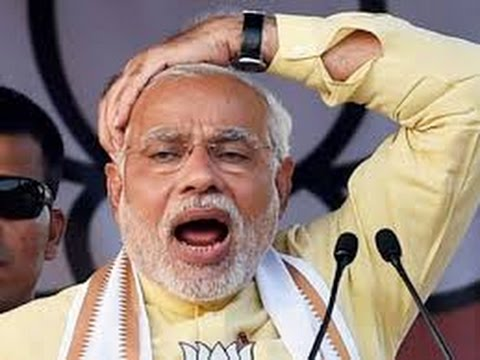 narendra modi hand on his head and mouth opened in a election rally funny photo
