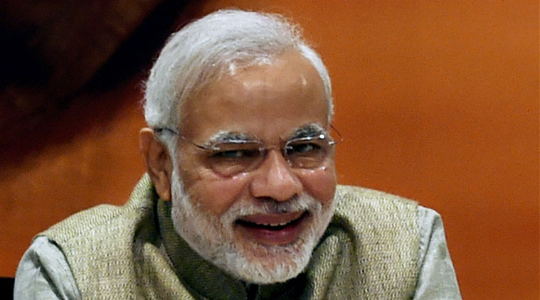 Narendra Modi laughing in a press conference