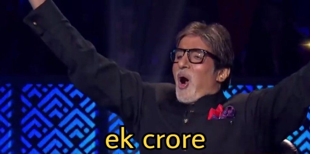Ek Crore Amitabh Bachchan in Kaun Banega Crorepati meme template