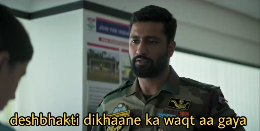 Vicky Kaushal as Major Vihaan Singh Shergill in the movie Uri The surgical strike dialogue deshbhakti dikhaane ka waqt aa gaya