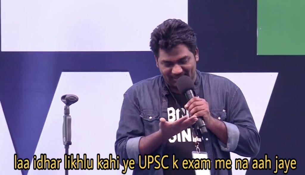 laa idhar likhlu kahi ye upsc k exam me na aah jaye zakir khan standup meme