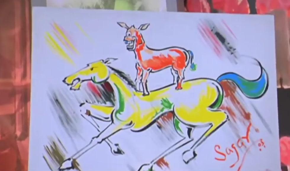 donkey on a horse