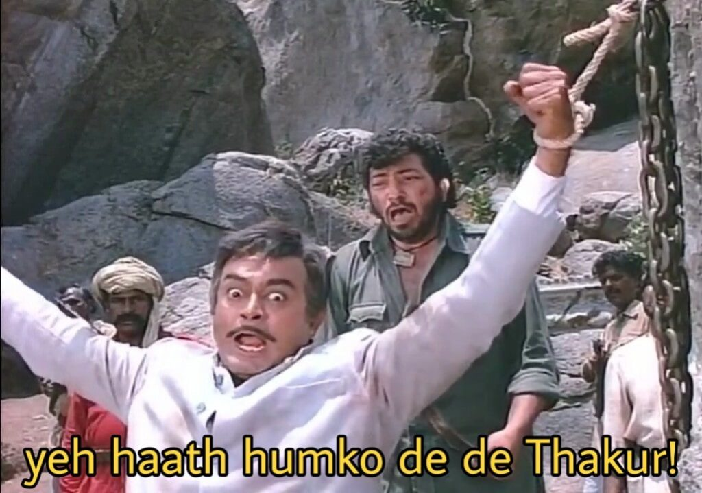 yeh haath humko de de thakur sholay movie dialogue