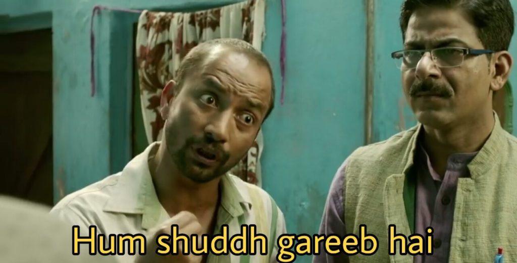 Hum shuddh gareeb hai Deepak Dobriyal in Hindi Medium movie dialogue and meme
