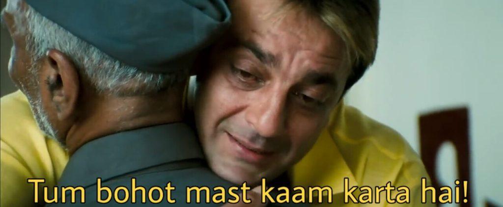 tum bohot mast kaam karta hai sanjay dutt hugging maqsood bhai in munnabhai mbbs