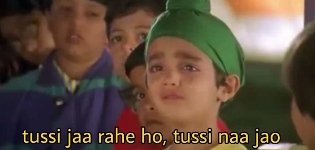 Little Kid crying Parzan Dastur Kuch Kuch Hota Hai movie dialogue tussi jaa rahe ho tussi naa jao