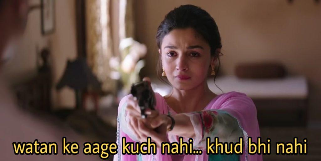 watan ke aage kuch nahi khud bhi nahi alia bhatt dialogue in the movie Raazi holding a gun
