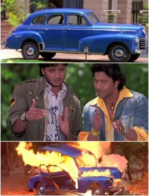 Aadi and Roy crashing boman's father's car meme template