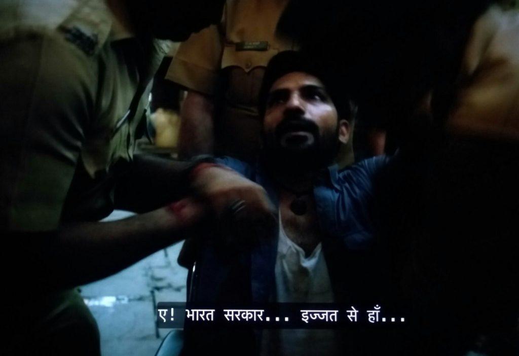 Jatin Sarna as Bunty Sharma in Sacred Games Season 2 dialogue and meme template while being arrested Ae bharat sarkar izzat se ha