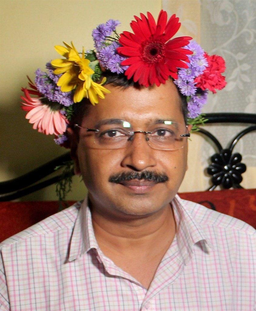 Arvind Kejriwal wearing floral crown funny photo
