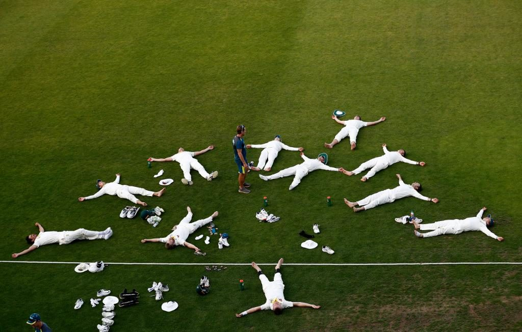 Australian cricket players relaxing and lying on the ground ashes cricket 2019 memes funny photo