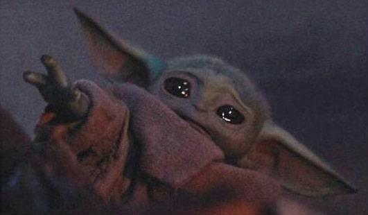 Baby Yoda Crying in The Mandalorian meme