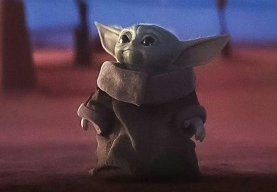 Baby Yoda Looking Up The Mandalorian meme