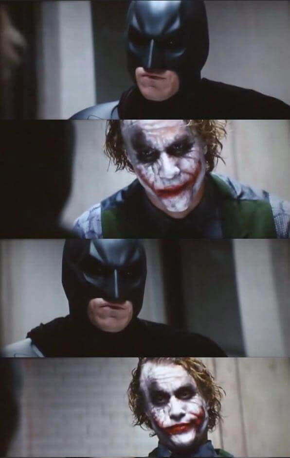 Batman and Joker talking in the jail meme template