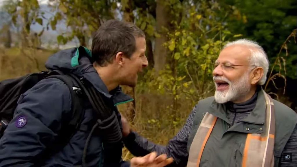 narendra modi and bear grylls laughing in a man vs wild interview in Jim Corbett National Park