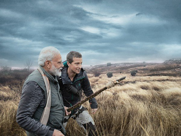 modi with Bear Grylls photos for man vs wild episode in discovery channel
