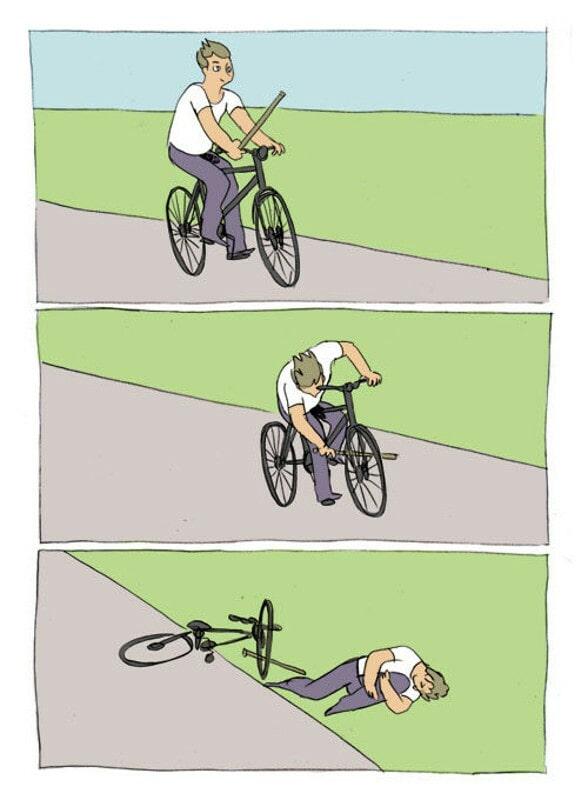 Baton roue Falling off bike blank meme template