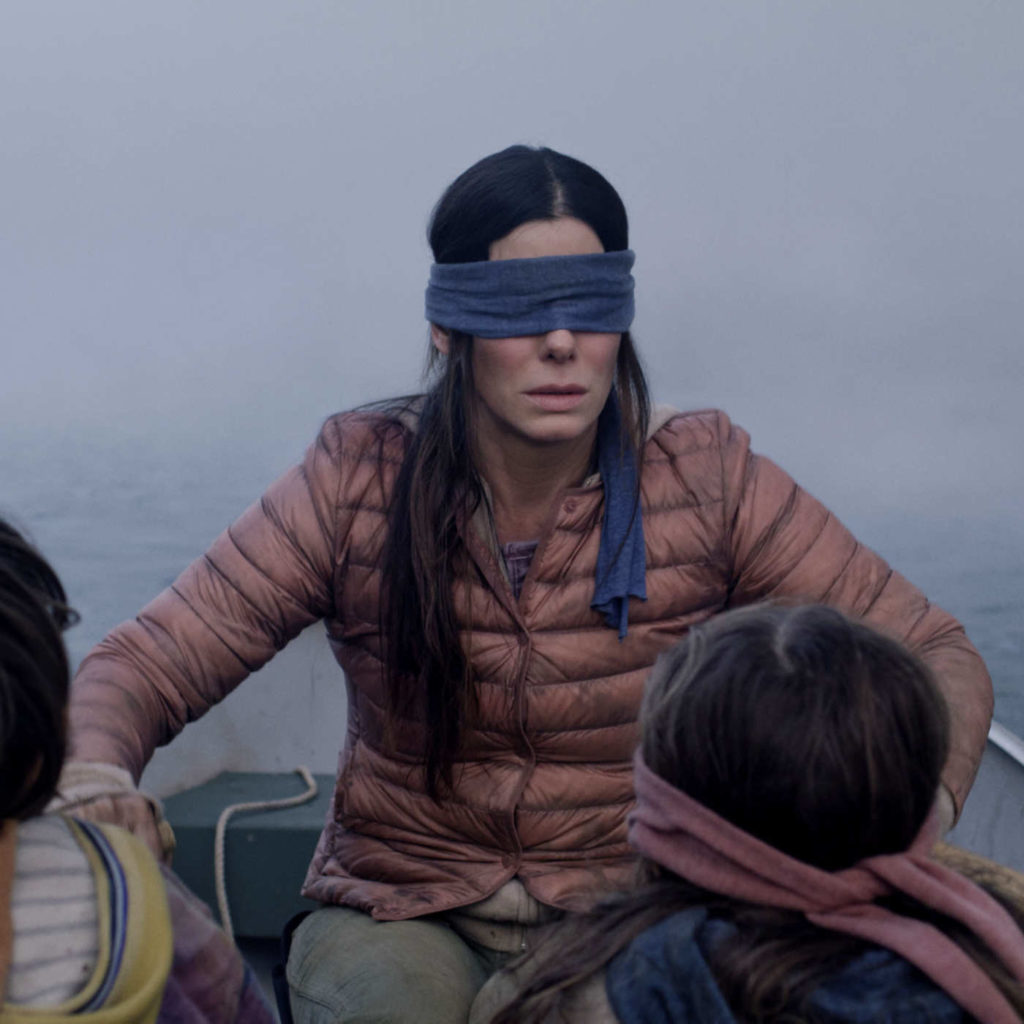 Sandra Bullock Blindfolded In Birdbox meme template