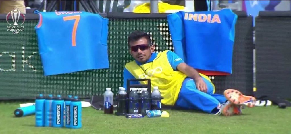 Yuzvendra Chahal sitting by the boundary in a relaxed posture meme template