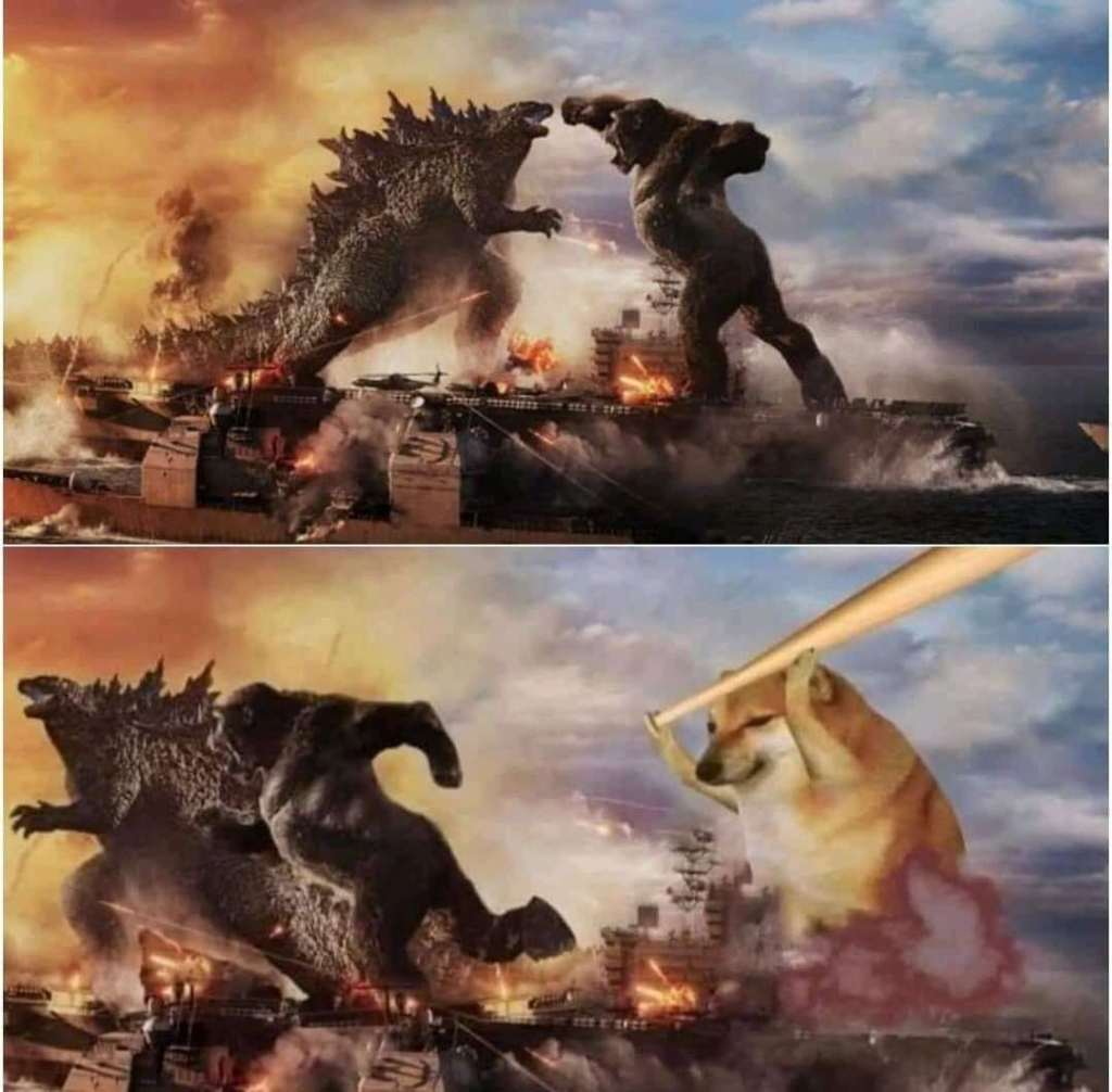 Cheems chasing kong and Godzilla with a baseball bat meme template