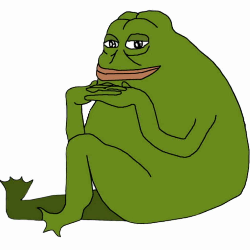 Groyper pepe the frog sitting meme template