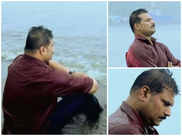 CID inspector Daya sitting near a sea beach looking hopeless and depressed