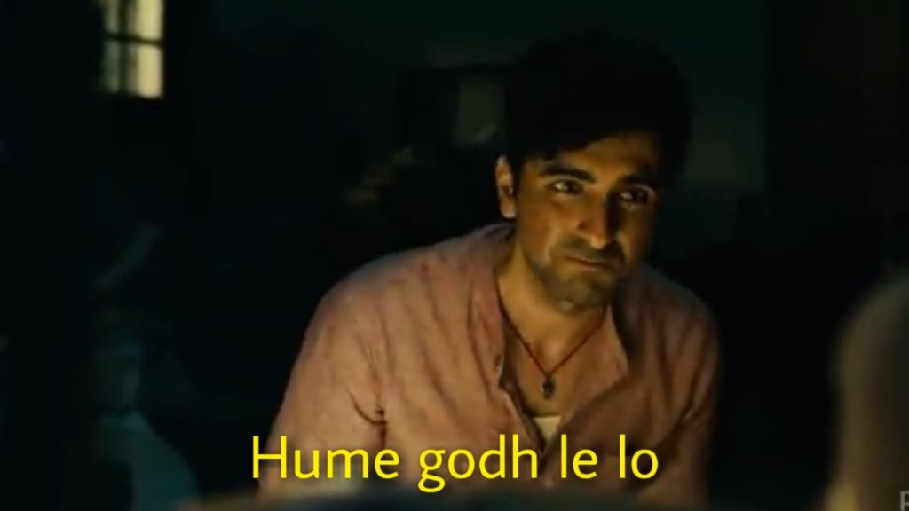 Hume godh le lo Ayushmann Khurrana Gulabo Sitabo meme template