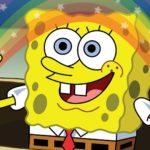 Imagination spongebob rainbow meme template