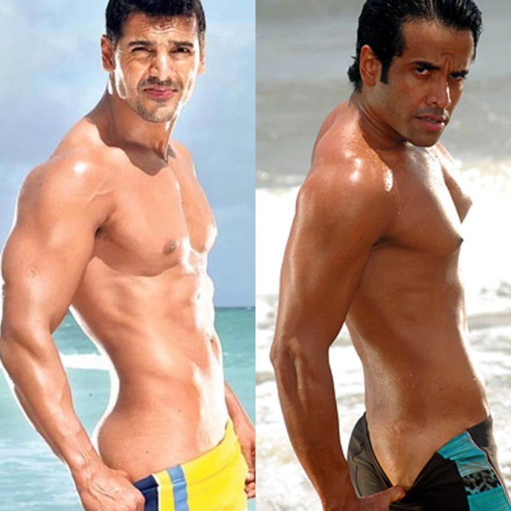 John Abraham In Dostana Vs Tusshar Kapoor In Kya Kool Hai Hum beach look meme