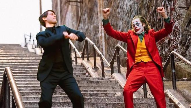 Joker and Peter Parker Dancing meme template
