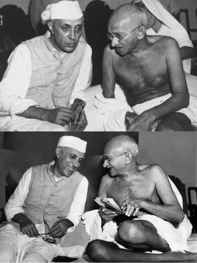 Mahatma Gandhi and Jawaharlal Nehru conversation at Congress Meeting meme