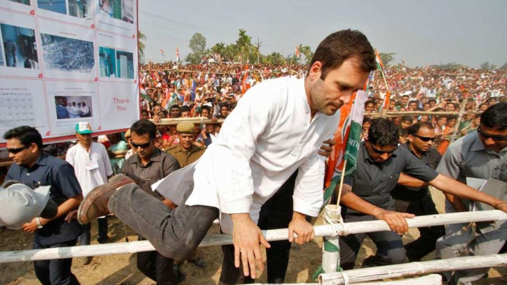 Rahul Gandhi jumping fences in an election rally
