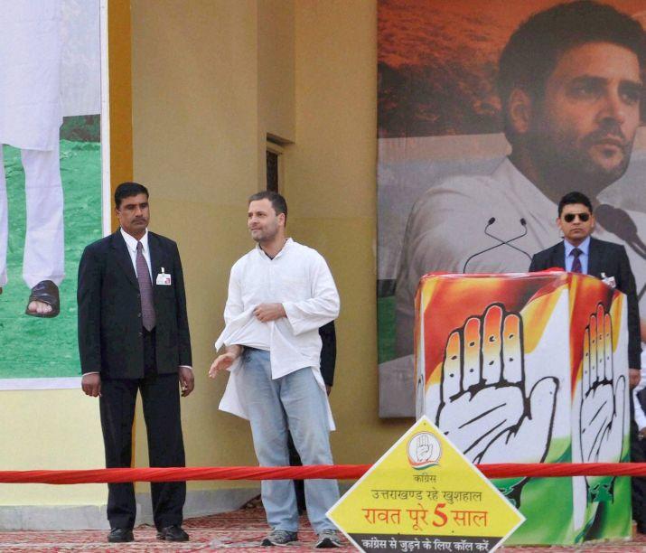 Rahul Gandhi showing his phata kurta torn pocket during a election rally meme