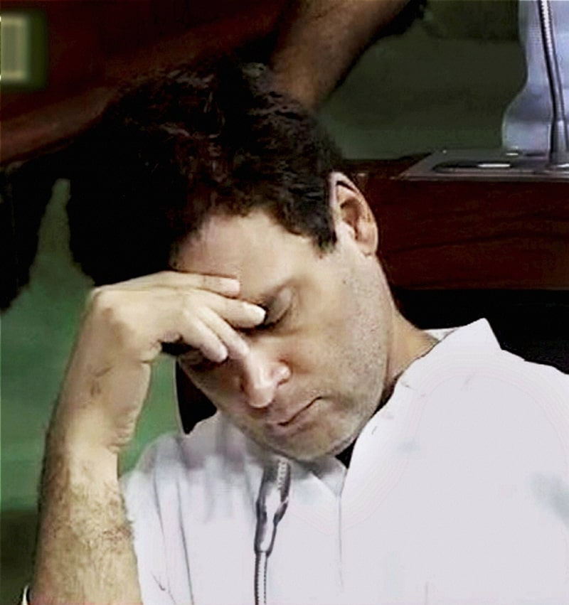 Rahul Gandhi sleeping at the parliament photo
