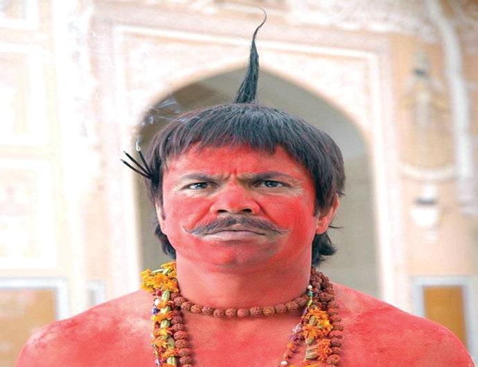 Rajpal Yadav as Chhote Pandit painted red funny image in the movie Bhool Bhulaiyaa
