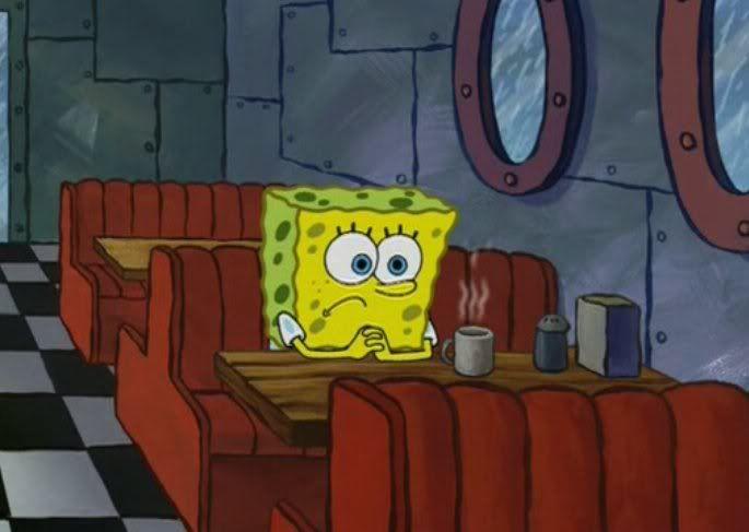 Sad lonely Spongebob sitting meme template