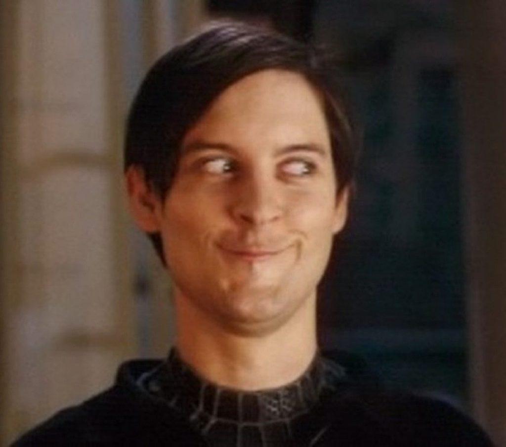 Peter Parker Sneaky Sideways Glance meme template