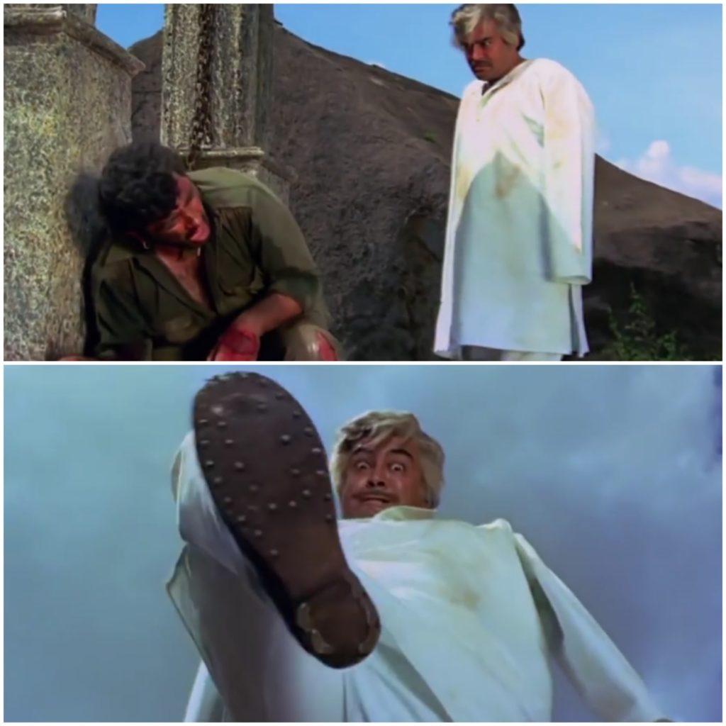 Thakur lifting his leg to squash Gabbars face Sholay movie meme template