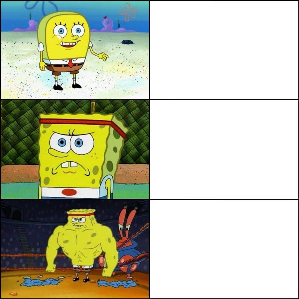 Increasingly Buff weak vs strong SpongeBob blank meme template