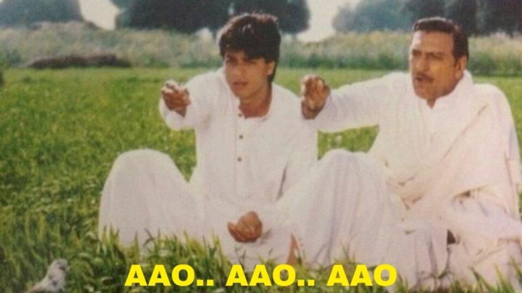 Aao Aao Aao Amrish Puri Shahrukh Khan feeding pigeons