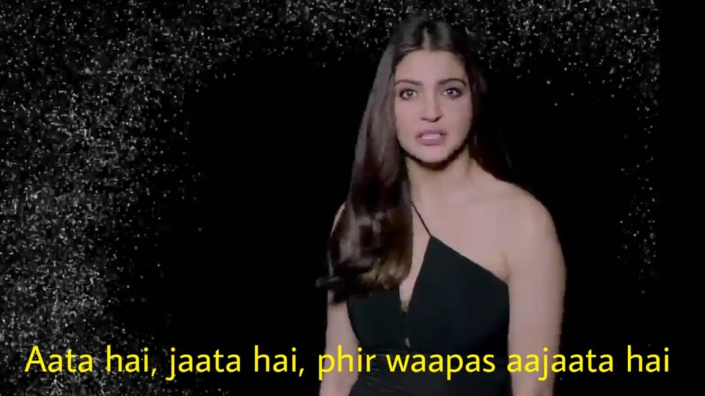 aata hai jaata hai phir waapas aajaata hai anushka sharma in Anti Dandruff Shampoo advertisement meme