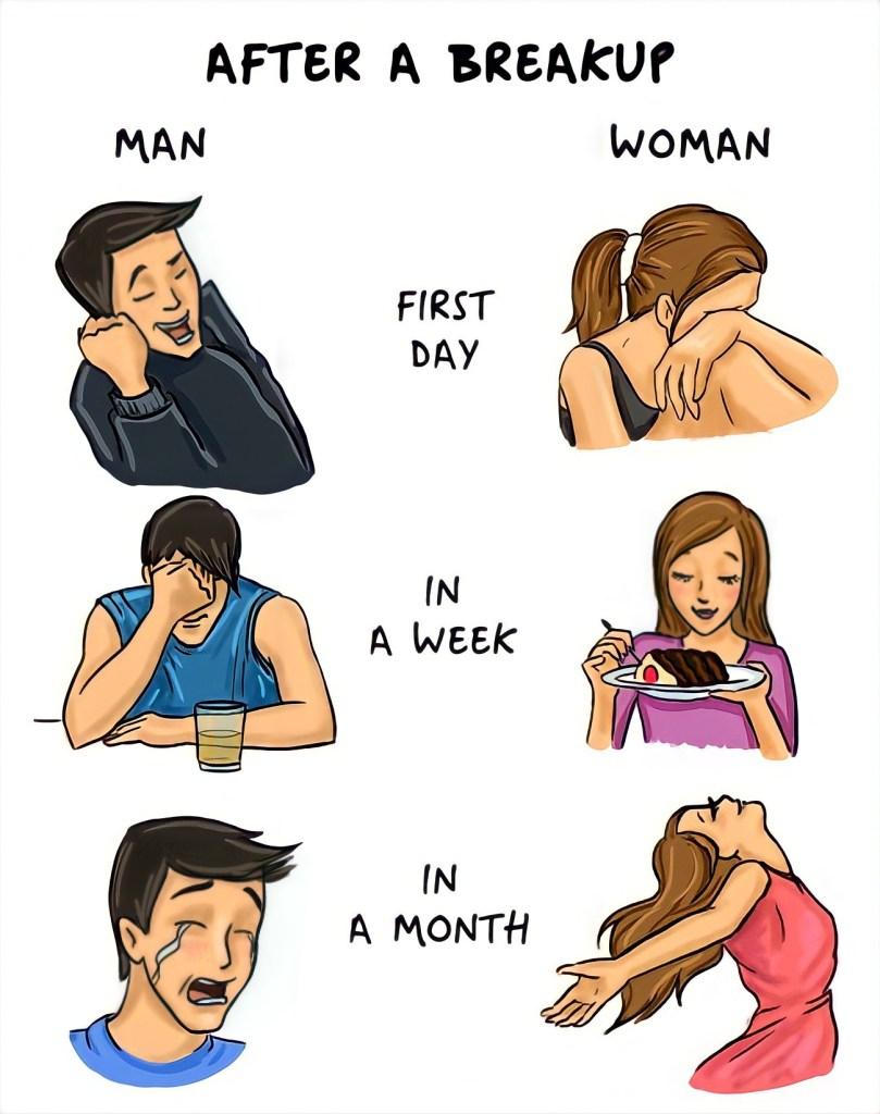 after a breakup man vs women meme template