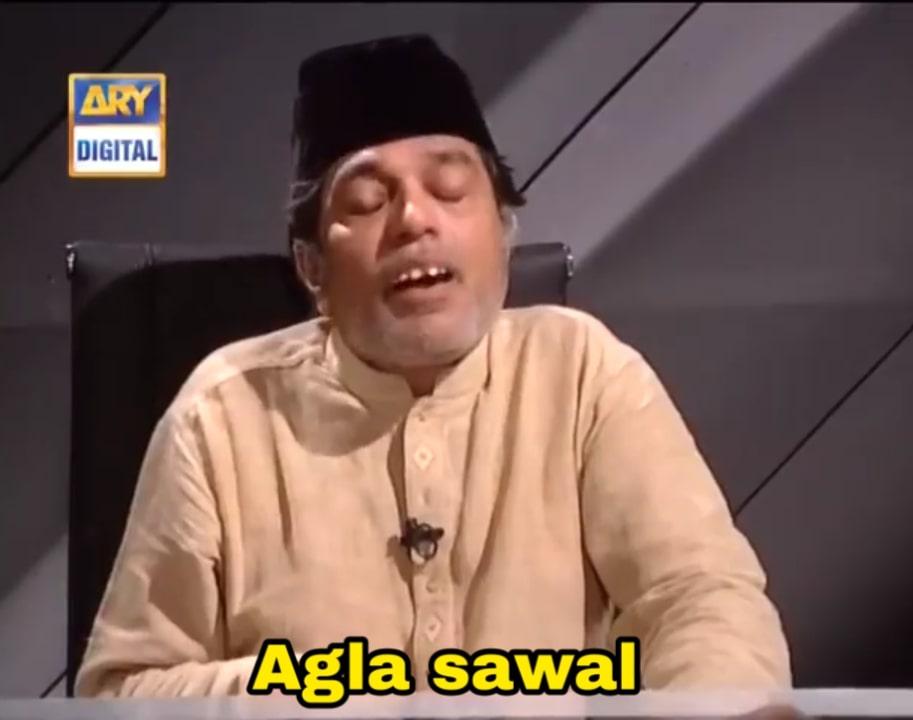 Agla sawal Harmonium wale chacha Moin Akhter in loose talk meme template