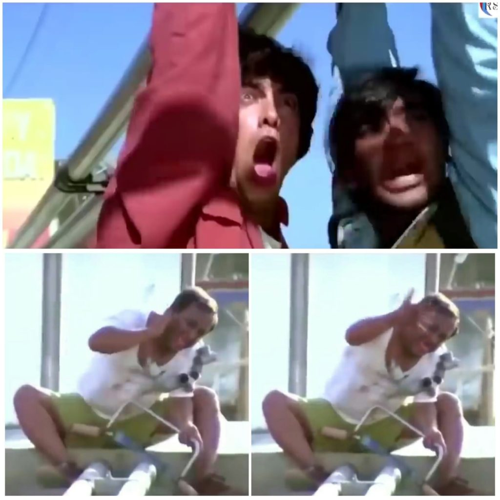 Ajay and Aamir shouting at the deaf man who is cutting pipe ishq movie meme template