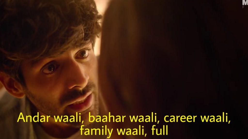 Andar waali baahar waali career waali family waali full Kartik Aaryan dialogue in Love aaj kal 2