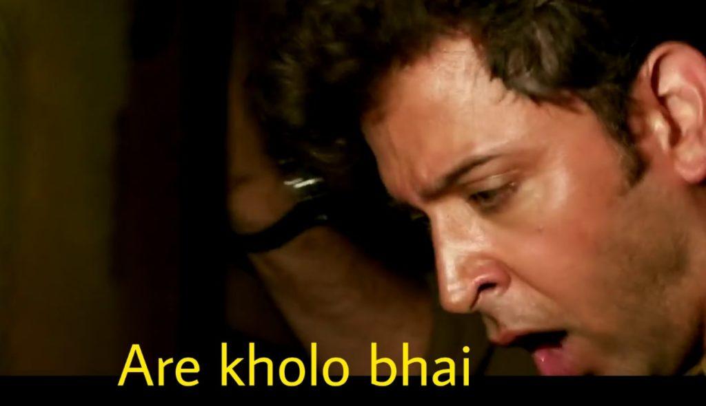 are kholo bhai Hrithik Roshan in kaabil movie meme