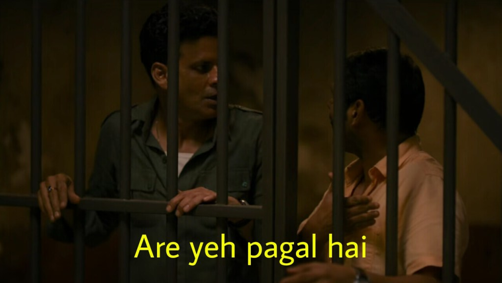 are yeh pagal hai JK in the family man meme template