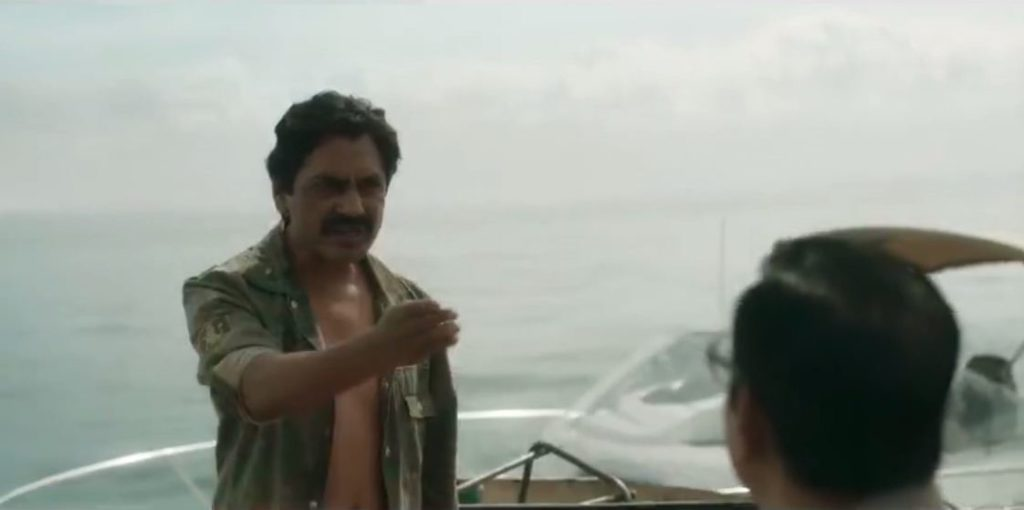 Nawazuddin Siddiqui as Ganesh Gaitonde in Sacred Games Season 2 dialogue and meme template Bh**dike jyada natak mat kar blank