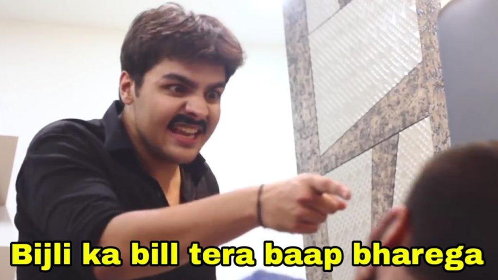 youtuber Ashish Chanchlani vines funny dialogue and meme bijli ka bill tera baap bharega
